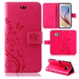 betterfon | Flower Case Handytasche Schutzhülle Blumen Klapptasche Handyhülle Handy Schale für Samsung Galaxy S6 Pink