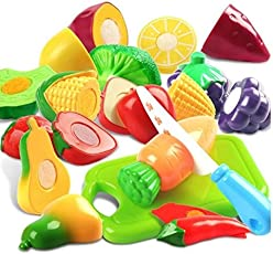 PLUSPOINT Premium Plastic Realistic Sliceable Fruits and Vegetables 2 Parts Cutting Play Set (Multicolour) - Pack of 13