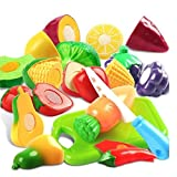 #3: PLUSPOINT Realistic Sliceable Fruits & Vegetables of Premium Quality Cutting Play Set, Can Be Cut in 2 Parts (13pc )