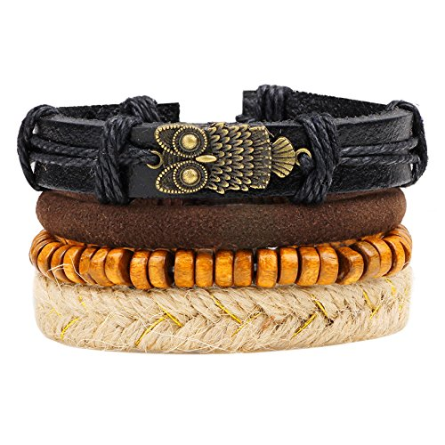 Nationalen Herren Kostüm Gürtel - Vintage Multi-Layer-Kombination gewebt Lederarmband Eule Holzperlen nationalen Handwerk Dekoration 4-teiliges Set