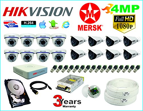 Hikvision 16 Ch Turbo HD Dvr & Mersk Full HD (4MP) CCTV Camera Kit with (All Required Accessories) Note : No Installation Service