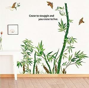 Ufengke gr ner bambus und fliegende v gel wandsticker wohnzimmer schlafzimmer entfernbare - Wandsticker bambus ...