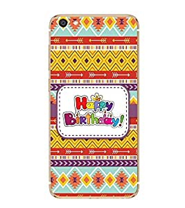 Fiobs Designer Back Case Cover for Vivo X7 (Multicolor Ethnic Design Happy Birthday)