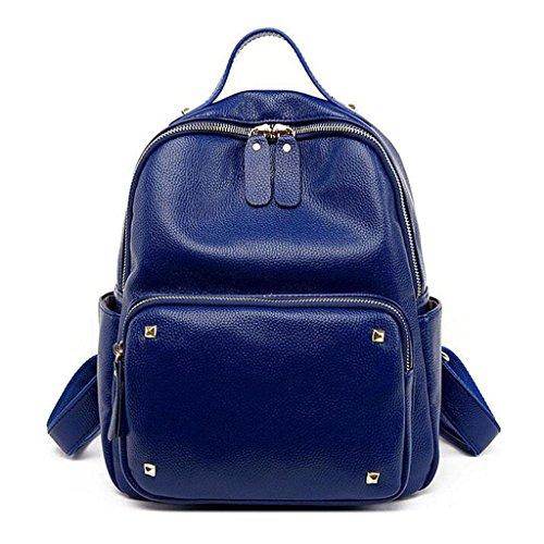 Y&F Leder Schultertasche Nietrucksack Student BeiläUfige Tasche Reisetasche 27 * 14 * 31 Cm Blue