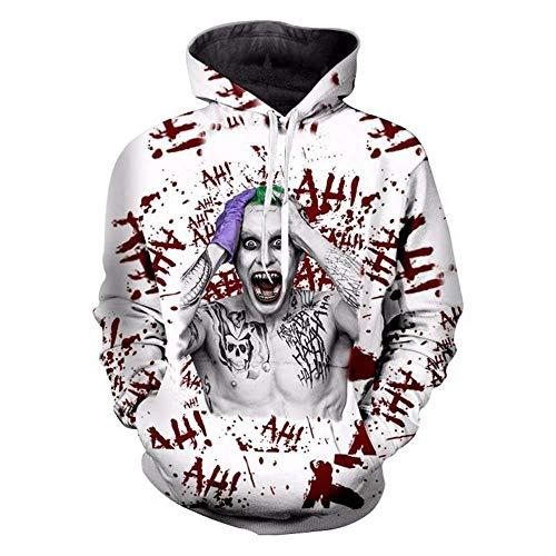 WTZFHF 3D Hoodie Kapuzenpullover, Cosplay Suicide a Squad The Joker Hoodie Männer Frauen Langarm Oberbekleidung Druck Lässig Unisex Squad Hoodie Sweatshirts