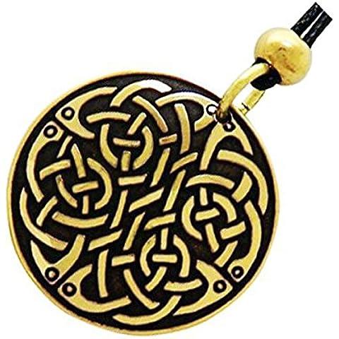 Handcrafted ottone inciso, Celtic Knot, la collana del pendente di modo rotondo, Simboleggia Eternity