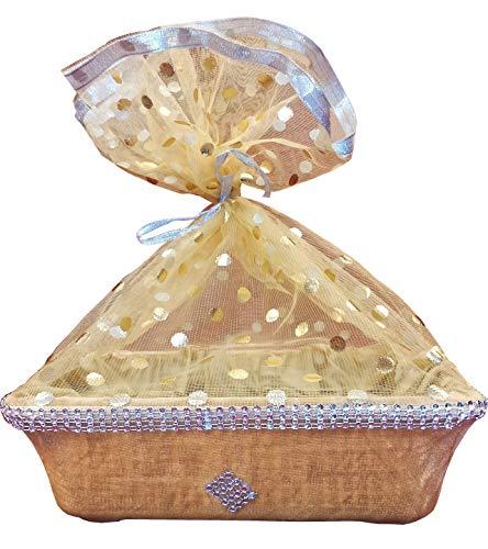 LINE 'N' CURVES Golden Velvet Net Covering Fancy Basket, Hotel Room Baskets (Size-11 x 9 x 4 Inches)