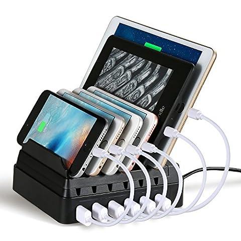Ladestation, maxtronic 6-port USB Ladekabel Dockingstationen multi-device Organizer Schnell Ladegerät [44Watt/2,4A max] mit Kabelfach, Multiport USB Ladegerät Desktop Charging Stand für Smartphones und Tablets