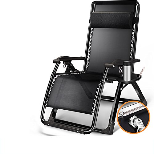 Brisk- Balkonliege Sommer- Klappstuhl Für Mittagspause Siesta Stuhl Strandstuhl Beiläufig Haushalt Coole Stühle Faul Sessel (Farbe : Schwarz)