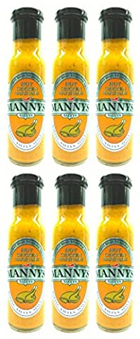 Mannys HOT Chicken Marinade 250ml (Pack of 6), Sauces, Dips, Marinades, Coating, Spicy, Gluten Free, Lactose Free, Egg Free, Nut Free, No added Sugar, No Artificial Preservatives, No Artificial Colours.