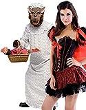 Couples FEMMES ET HOMMES PETIT CHAPERON ROUGE & GRAND Bad Mamie loup Conte De Fée Nightmare déguisement halloween costume déguisement - Rouge, Ladies UK 10 & Mens STD