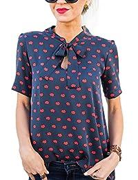 Verano Labios Rojos Impresión Tops Mujeres Cuello Redondo Manga Corta Vendaje Camisetas Remata Ocasional Blusa de
