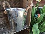 Seau en métal rustique de style vintage Pot Plant Container Jute Poignées Planteur