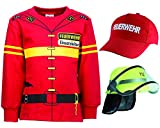 shirt-side gmbh Kinder Feuerwehr Uniform Kostüm 3 er Set - Sweat - Helm- Cap Gr. 92 bis 134 (92/98)