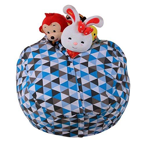 samLIKE sitzsack,Kids stuffed animal plush toy storage beanbag stripe fabric chair (C)