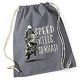 Siviwonder Turnbeutel - SPEED KILLS so what SCHNABELTIER vintage Bike - Baumwoll Tasche Beutel grau
