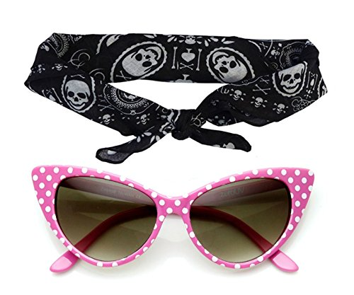 50's Polka Dot Cat Eye Sunglasses Black Pink Red White + Bandanna Tie Headband Set