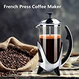 Deals Mart French Press Coffee Maker Stainless Steel Filter Coffee Pot Tea Kettle Heat Resistant Glass Cafetiere Kitchen Hand Filter Press