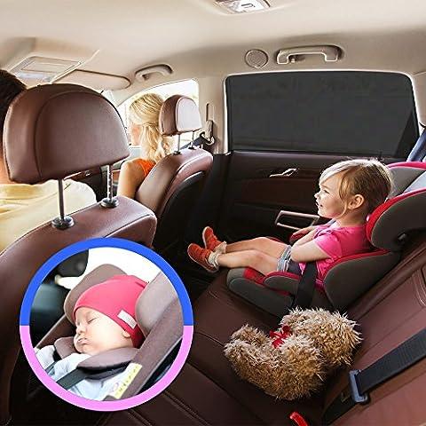 Auto Luxuria Cubierta universal parasol para ventana del coche - Protección UV para su bebé / niños / mascotas de los fuertes rayos del sol Se adapta a la mayoría de los coches y todo terrenos + REGALO SOPORTE DE CAJA DE PA?UELOS PARA ASIENTO DE
