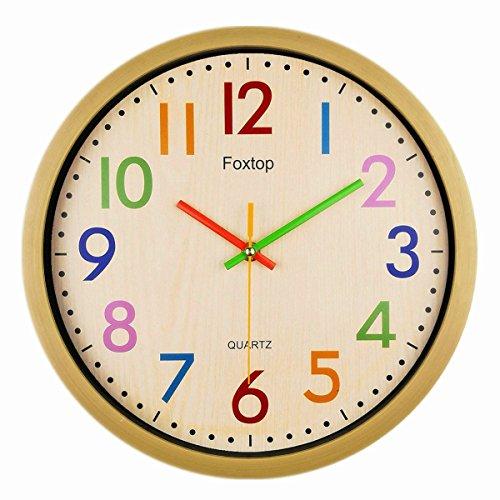 Foxtop Grande Nostalgie Reloj de Pared Silencioso de Colores Para la Decoración del Hogar, 32 cm diámetro