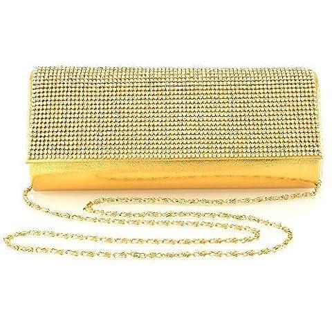 LADIES CRYSTAL DIAMANTE METALLIC EVENING SATIN BRIDAL PROM WOMENS CLUTCH BAG (Gold Metallic)