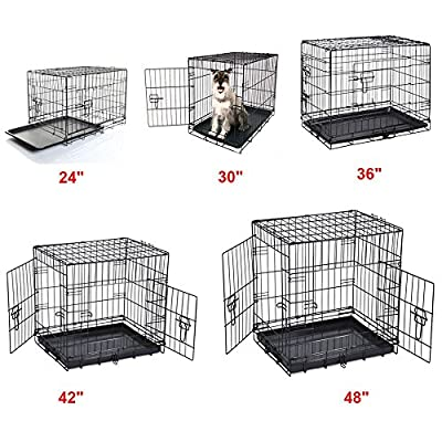"24"" 30"" 36"" 42"" 48"" Dog Cage Crates Puppy Pet Carrier Training With ABS Tray"