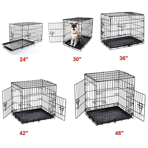 24-30-36-42-48-Dog-Cage-Crates-Puppy-Pet-Carrier-Training-With-ABS-Tray