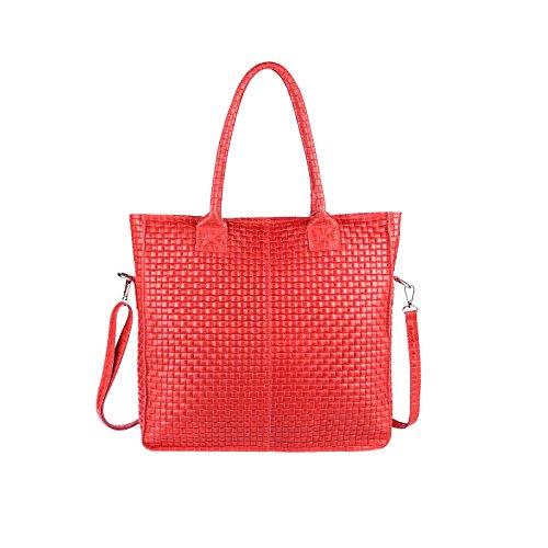Obc Made In Italy Pelle Tasache Din-a4 Shopper Borsa A Tracolla Tote Bag Tote Bag Metallic Handbag Tracolla Bag (nero 36x40x12 Cm) Rosso