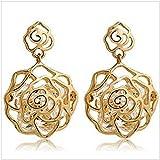 ITS-New Designer Zircon Crystal Hollow Rose Flower Stud Earrings For Girls.