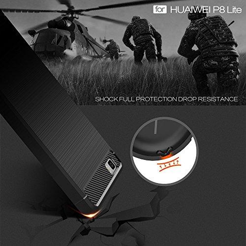 EKINHUI Case Cover Brushed Carbon Fibre Rugged Armor Stoßstange Fall Schock Absorbtion Drop Resistance Shell Back Cover für Huawei P8 Lite ( Color : Red ) Black