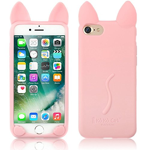 iPhone 5 Schutzhülle, elecfan® Leichtgewicht 3D Cartoon Nette Katze weichen Gel Hülle Tasche Wasserdicht Case Cover Schock Proof Schutzhülle für Apple iPhone 5s iPhone 5 Rosa