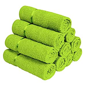 Story@Home Combo of 100% Cotton Face Towel Quality Cotton Towel (Set of 10 Pc) Green