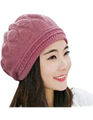 Tongshi Las mujeres boina trenzado holgado de punto de ganchillo Beanie Hat Cap Invierno Esquí casquillo caliente (Púrpura)