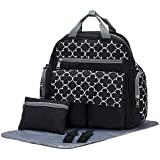 SoHo Diaper Bag Backpack Bedford Ave 4 Pieces Set Nappy Tote Bag For Baby Mom Dad Stylish Unisex Multifunction Large Capacity Waterproof Easy To Clean Includes Changing Pad Stroller Straps Blcak