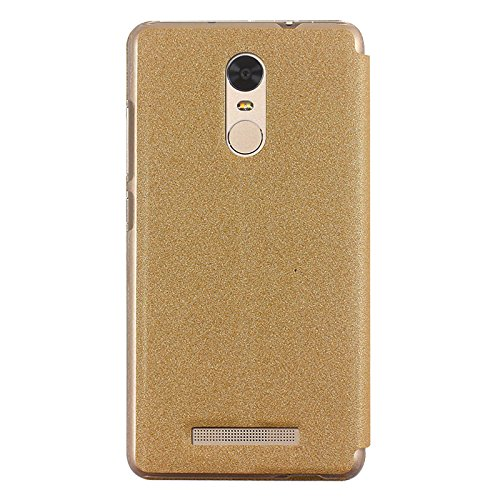 FidesBox (TM) Sparkle Series Leather Flip Cover Stand Case for Xiaomi Redmi Note 3 - Sparkling Gold