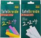 rainbowFUN.de Idena Tafelkreide - farbig und weiß, 24 Stangen