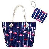 SoulCats Shopper Freizeittasche Strandtasche im Flamingo Style blau weiß pink
