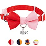 Blueberry Pet Pack of 1 Timeless Scarlet Red & Pink Breakaway Handmade Bow Tie Cat Collar with European Crystal Bead on Fish Charm, Adjustable Collars for Girl, Neck 23cm-33cm, Bow 6cm * 4.5cm