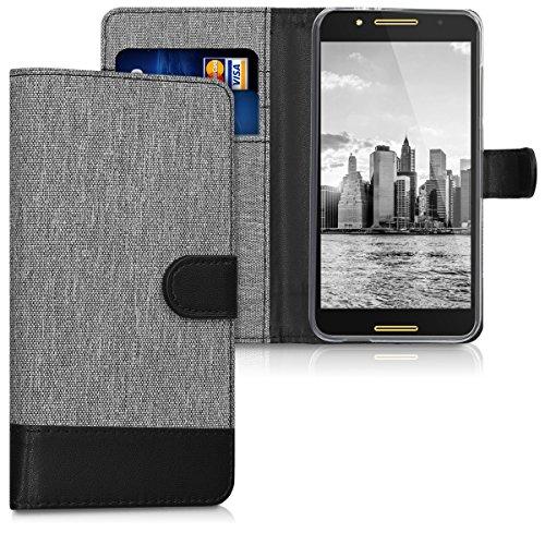 kwmobile Alcatel A7 Hülle - Kunstleder Wallet Case für Alcatel A7 mit Kartenfächern & Stand