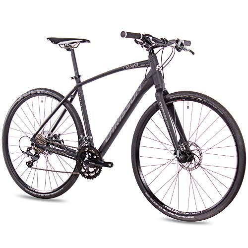 CHRISSON 28 Zoll Gravel Bike Urban One schwarz matt 56 cm, Urbanrad mit 16 Gang Shimano Claris Schaltung, Cross Rennrad für Damen und Herren