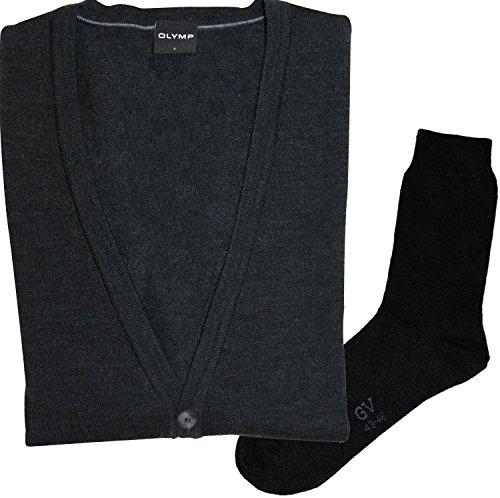 Olymp Strick Cardigan Strickjacke - Merinowolle, V-Ausschnitt, anthrazit + 1 Paar hochwertige Socken, Bundle Anthrazit