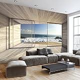 murando - Fototapete Meer Fenster 350x256 cm - Vlies Tapete - Moderne Wanddeko - Design Tapete - Wandtapete - Wand Dekoration - Meer See Natur Landschaft Fenster 3D Holz c-A-0084-a-b