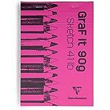 Clairefontaine Graf It de Croquis avec couverture rose, blanc, format A6, 90g