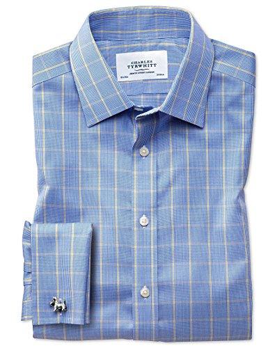 Bügelfreies Extra Slim Fit Hemd in blau und gold mit Prince-of-Wales-Karos blau und gold (Knopfmanschetten Cuff)