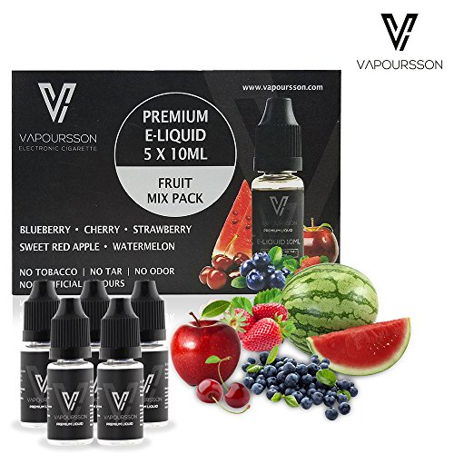 VAPOURSSON 5 x 10 ml E líquidos Mezcla de frutas | manzana | Blueberry | cereza | fresa | sandía | Fórmula para crear un sabor fuerte estupendo con ingredientes alto grado New Super Grado | Hecho para el cigarrillo electrónico y E Shisha