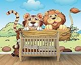 Bilderdepot24 Selbstklebende Fototapete - Kinderbild - Löwe und Tiger Freundschaft - Pastell - 150x100 cm - Poster – Dekoration – Wandbild – Wandposter – Wand - Wanddeko