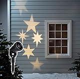 Lights4fun LED Sternen Projektor warmweiß Außen strombetrieben