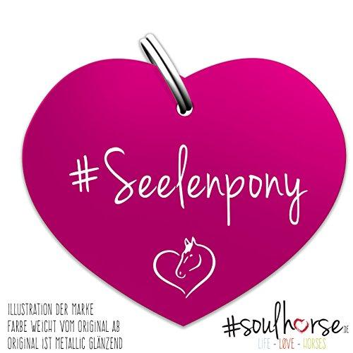 Pferde Glücksmarke Herzmarke 'Seelenpony' in pink von Soulhorse fürs Pony Halfter, Trense und Zaumzeug