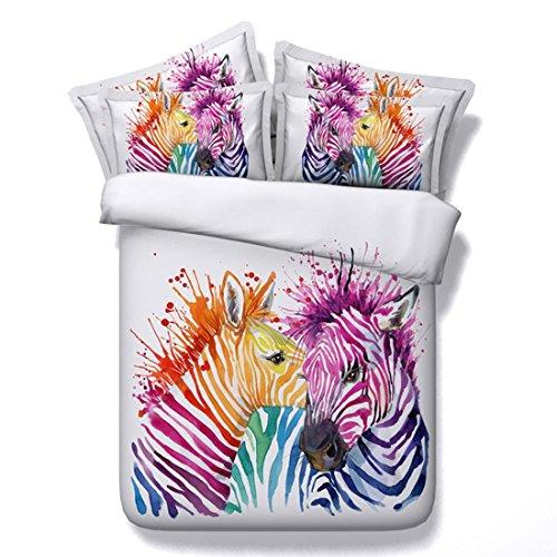 Zebra Druck Duvet Set Schlafzimmer Mode 3D-Effekt Doppel Größe Bett Bettwäsche-Sets Mit Kissenbezüge 3 Stücke 1 Bettbezug 2 Kissenbezüge , 220X240Cm