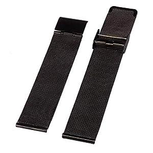 Alienwork Uhrenarmband für Herren-Uhr mit Metall Mesh Armband Edelstahl schwarz